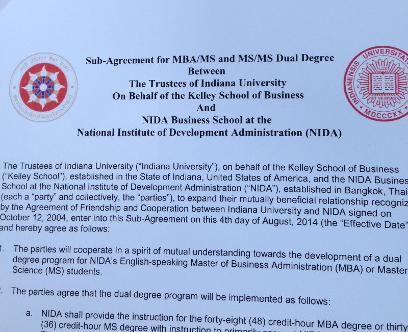 Mba Nida Sub Agreement For Mbams And Msms Dual Degree